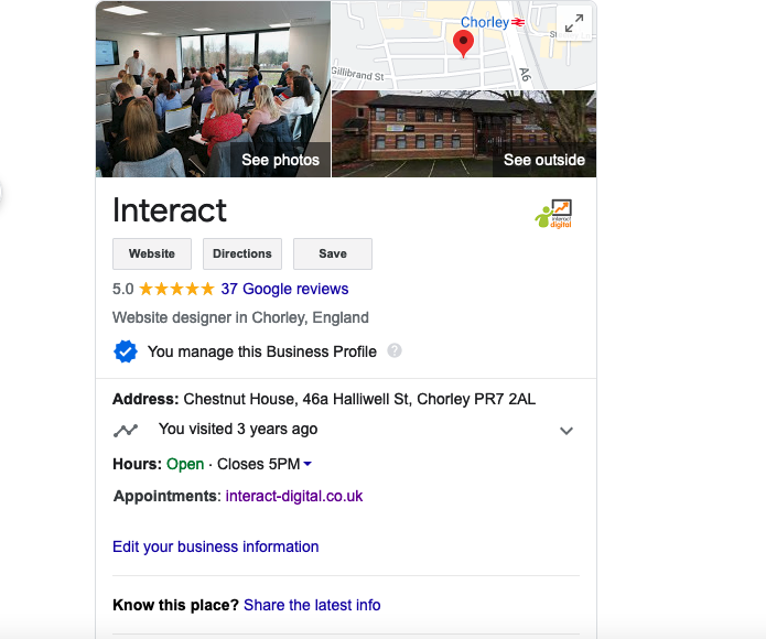 Interact Google business profile on Google for local searches