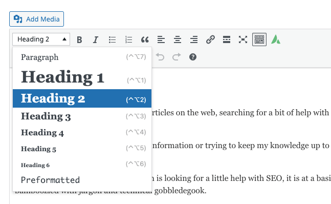 Change headings or paragraph types in WordPress